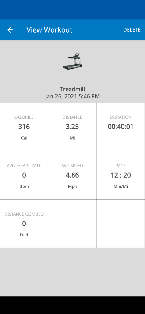 screenshot of treadmill workout